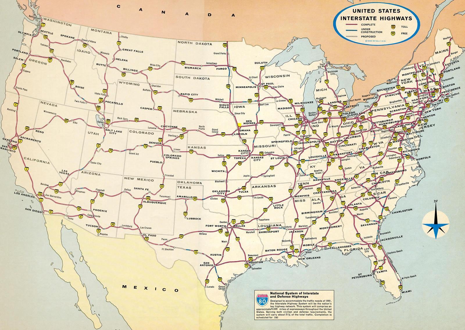 Mapa De Estados Unidos Con Interestatais Eua Mapa Con